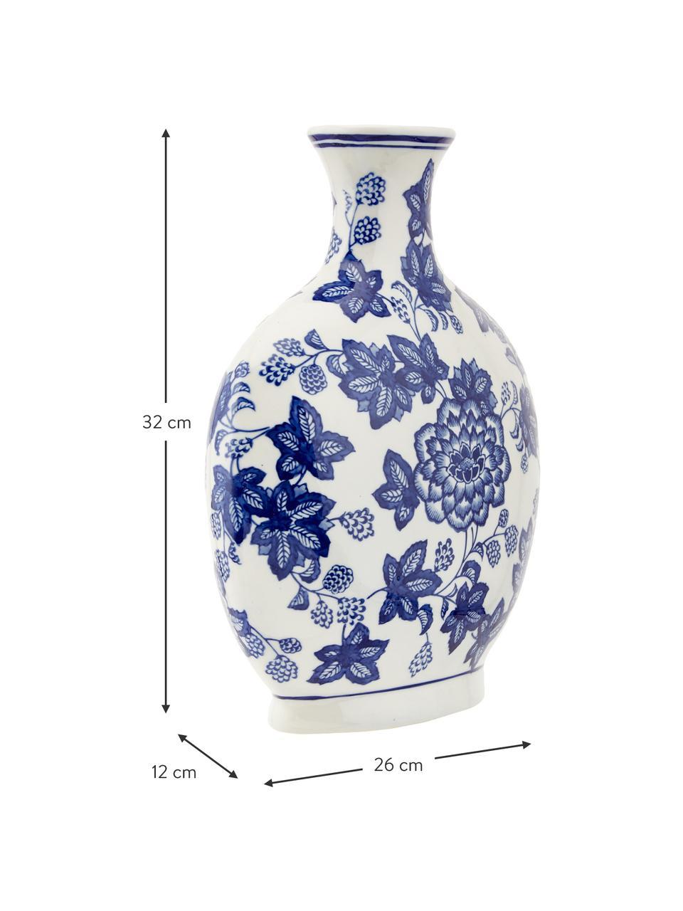 Wazon z ceramiki Blue Flowers, Ceramika, Złamana biel, niebieski, S 26 x W 32 cm