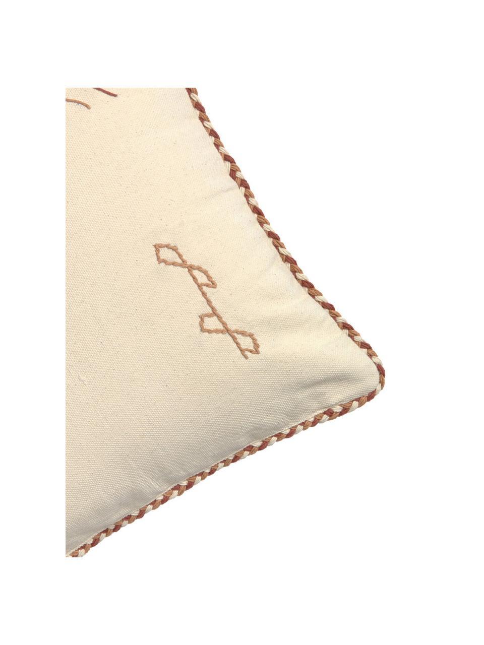 Federa arredo con motivo etnico Riad, 100% cotone, Crema, tonalità marroni, Larg. 45 x Lung. 45 cm