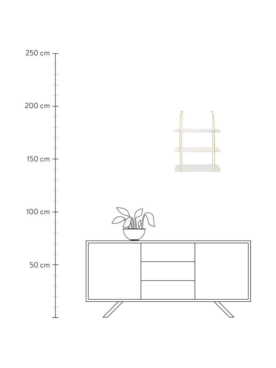 Libreria da parete in marmo Porter, Mensole: marmo, Bianco, dorato, Larg. 40 x Alt. 58 cm