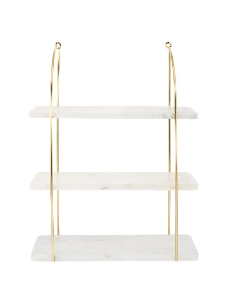 Marmeren wandrek Porter, Wit, goudkleurig, 40 x 58 cm