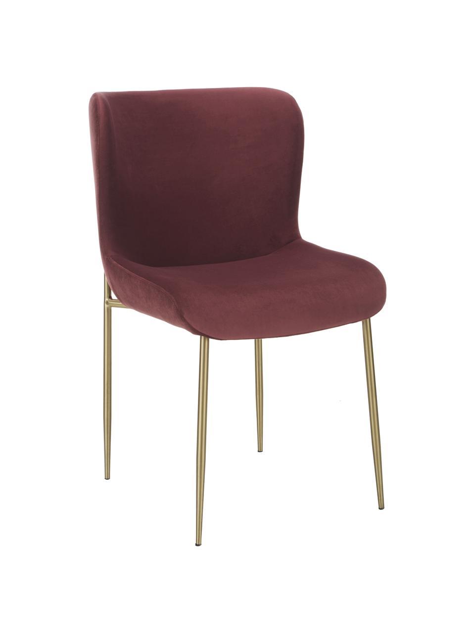 Krzesło tapicerowane z aksamitu Tess, Tapicerka: aksamit (poliester) Dzięk, Nogi: metal malowany proszkowo, Aksamitny bordowy, złoty, S 49 x G 64 cm