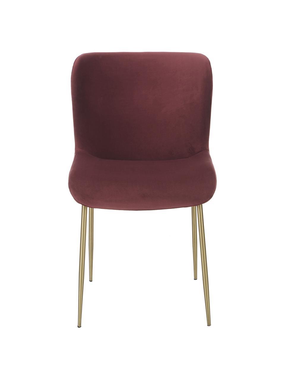 Krzesło tapicerowane z aksamitu Tess, Tapicerka: aksamit (poliester) Dzięk, Nogi: metal powlekany, Aksamitny bordowy, nogi: złoty, S 49 x G 64 cm