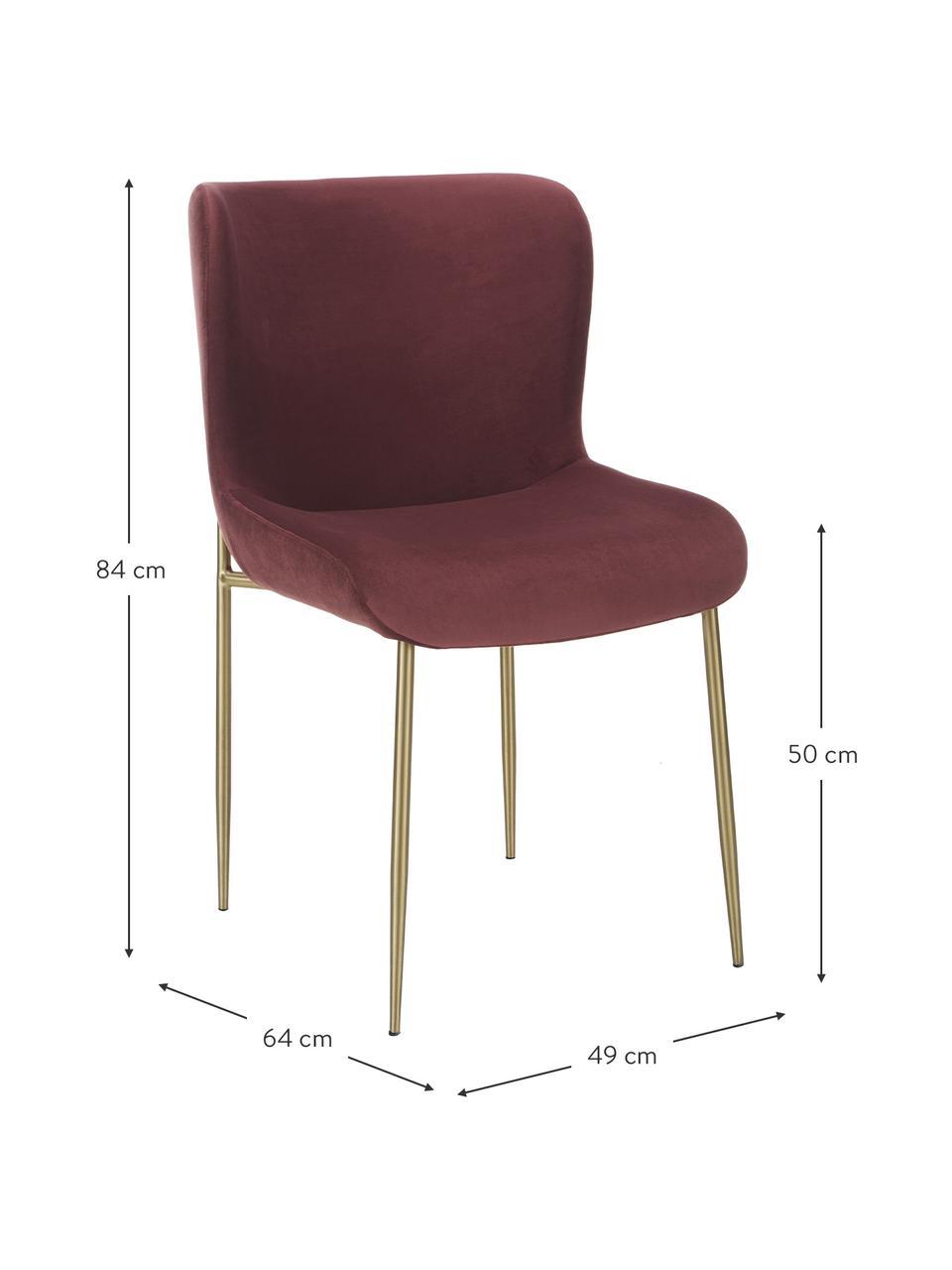 Fluwelen stoel Tess in bordeauxrood, Bekleding: fluweel (polyester), Poten: gecoat metaal, Fluweel bordeauxrood, poten goudkleurig, B 49 x D 64 cm