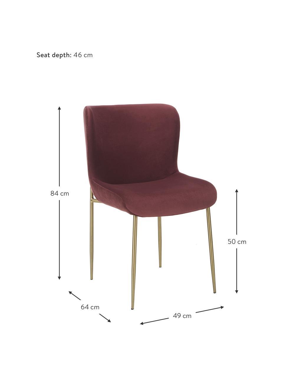 Chaise velours rembourrée Tess, Velours bordeaux, pieds or