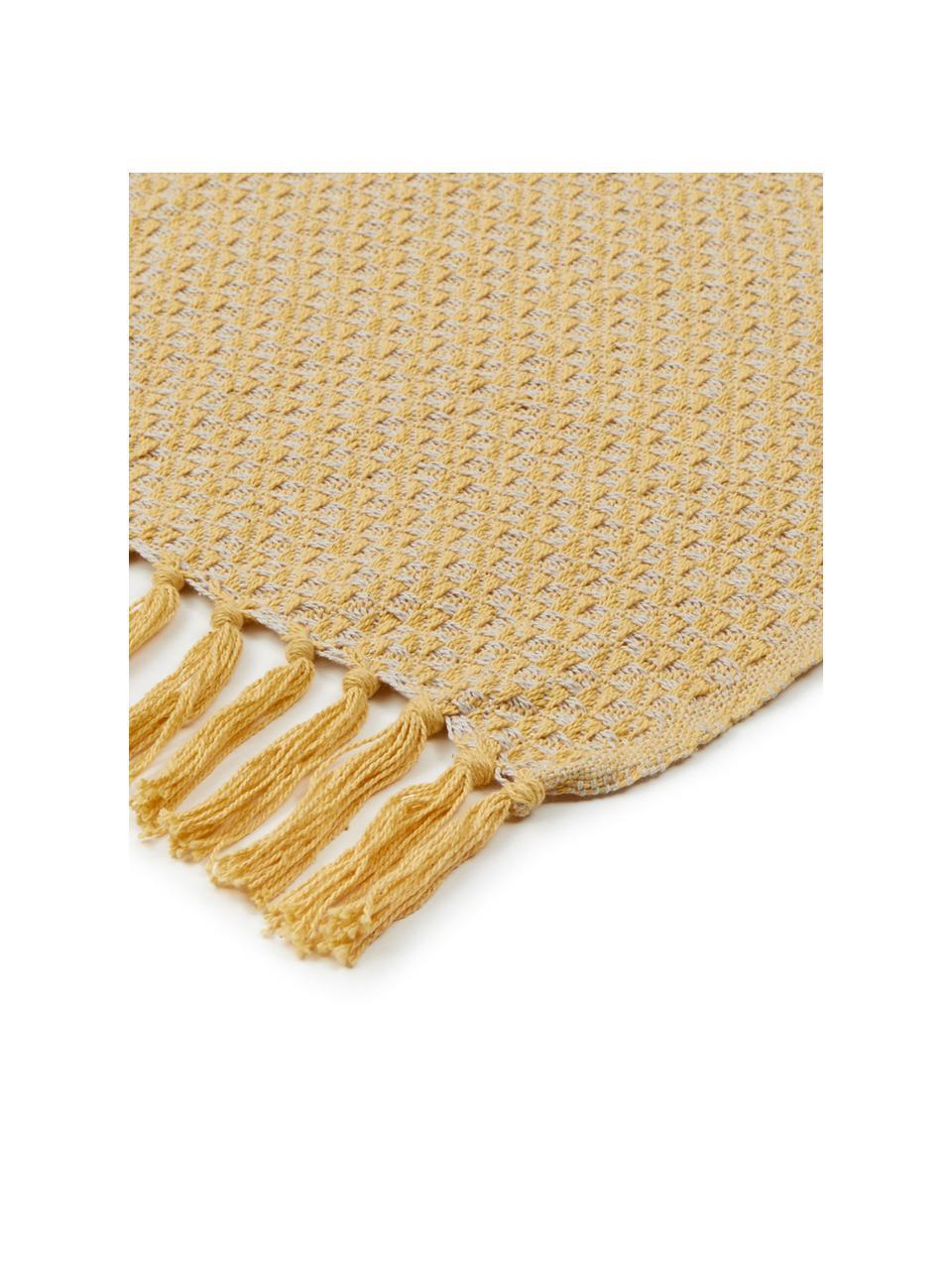 Plaid Check, 100% Baumwolle, Beige, Gelb, 130 x 170 cm