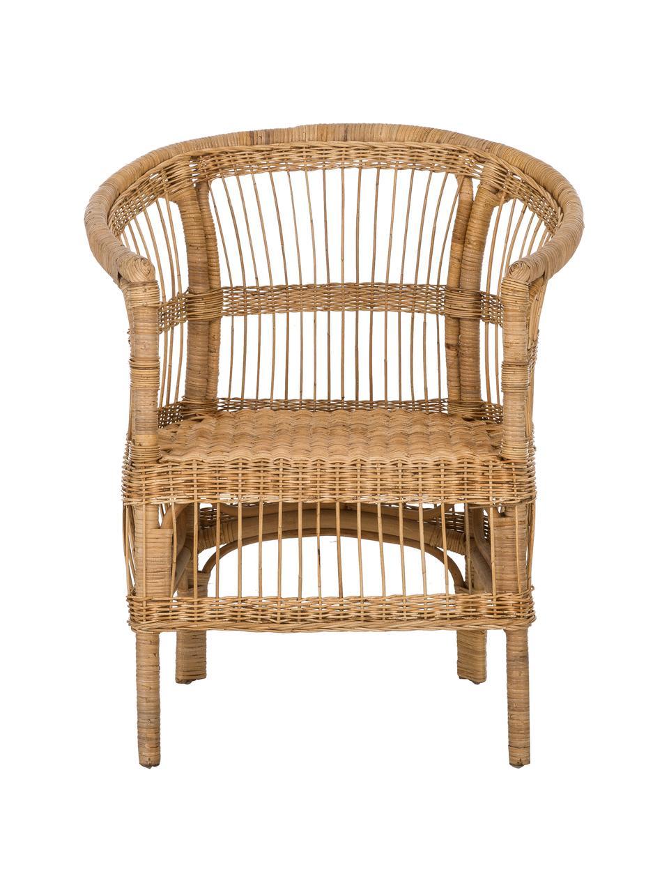 Sedia con braccioli in rattan  Palma, Rattan, Rattan, Larg. 60 x Prof. 70 cm