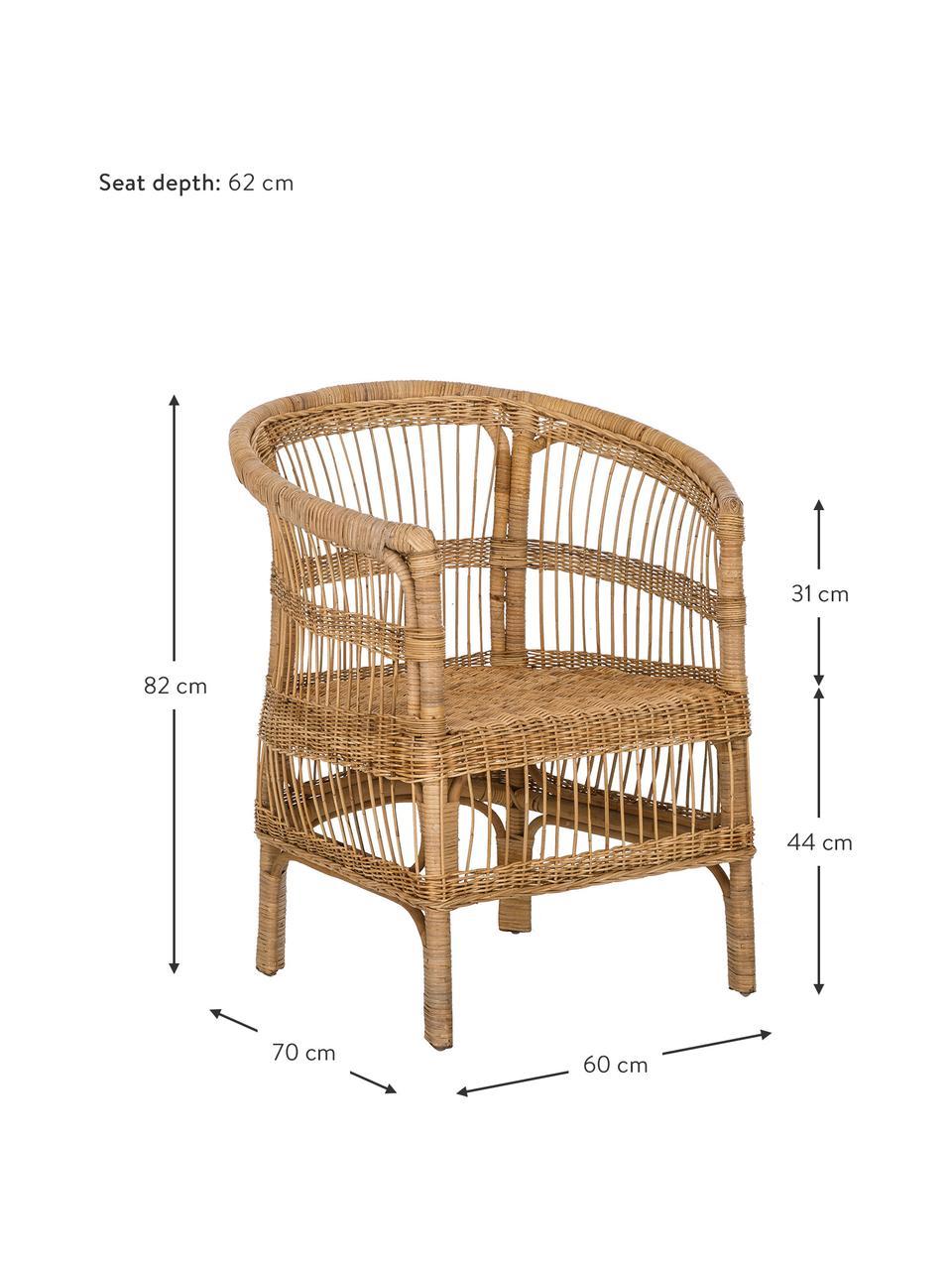 Rotan armstoel Palma, Rotan, Rotan, B 60 x D 70 cm