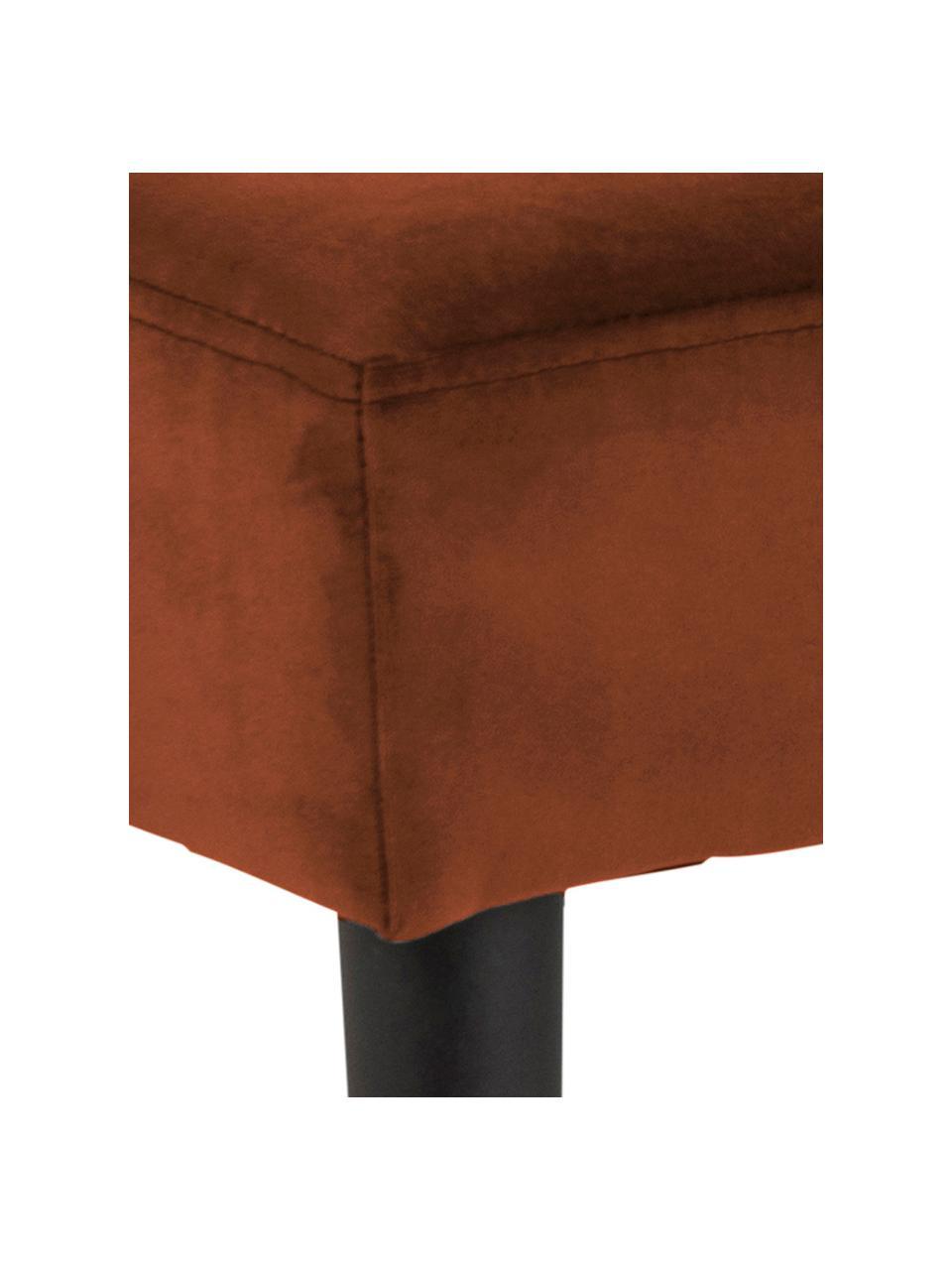 Panca in velluto Glory, Rivestimento: velluto di poliestere 25., Struttura: metallo verniciato a polv, Rame, Larg. 95 x Alt. 45 cm