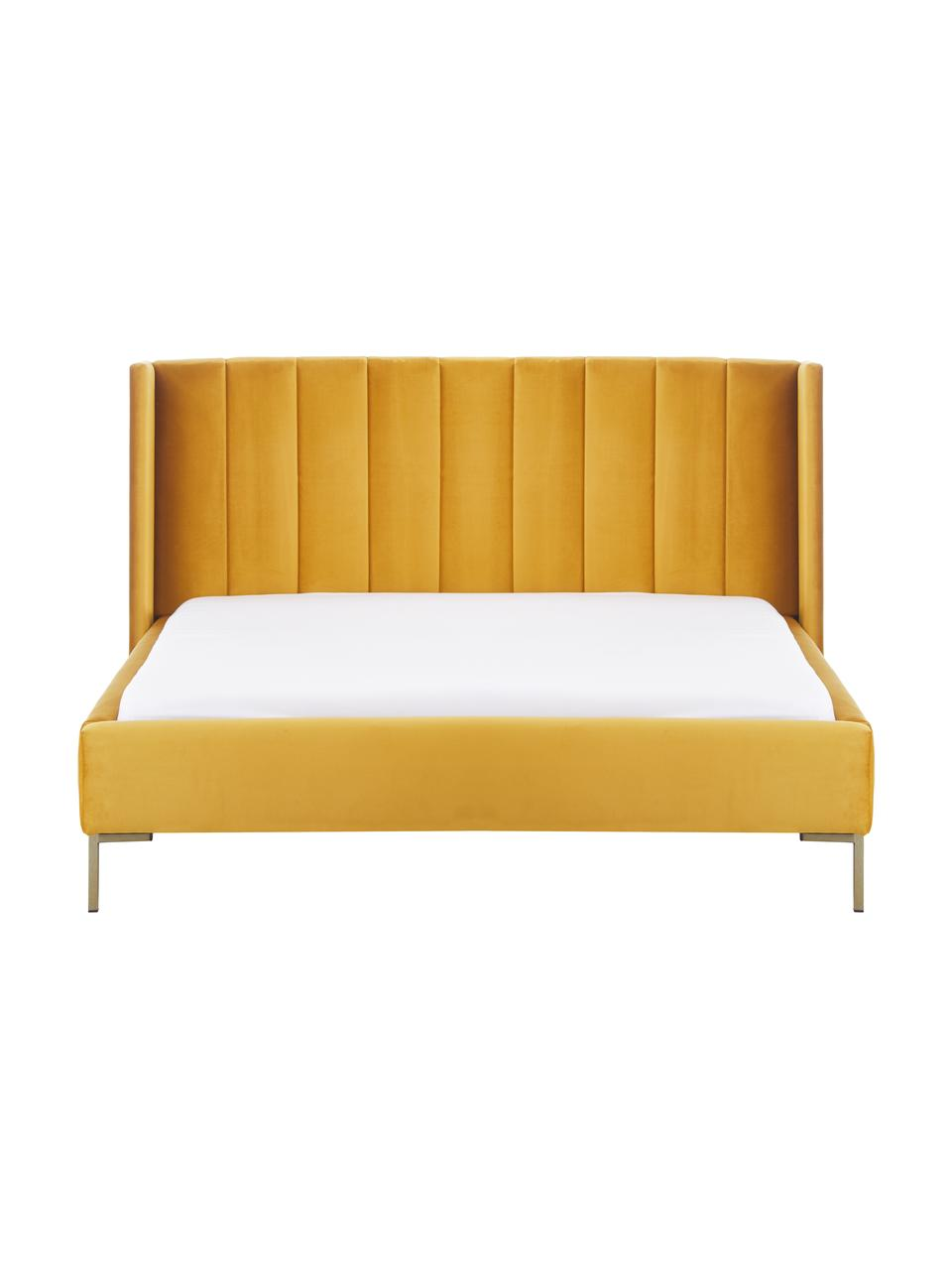 Letto imbottito in velluto giallo Dusk, Rivestimento: tessuto finemente struttu, Piedini: metallo verniciato a polv, Velluto giallo, 200 x 200 cm