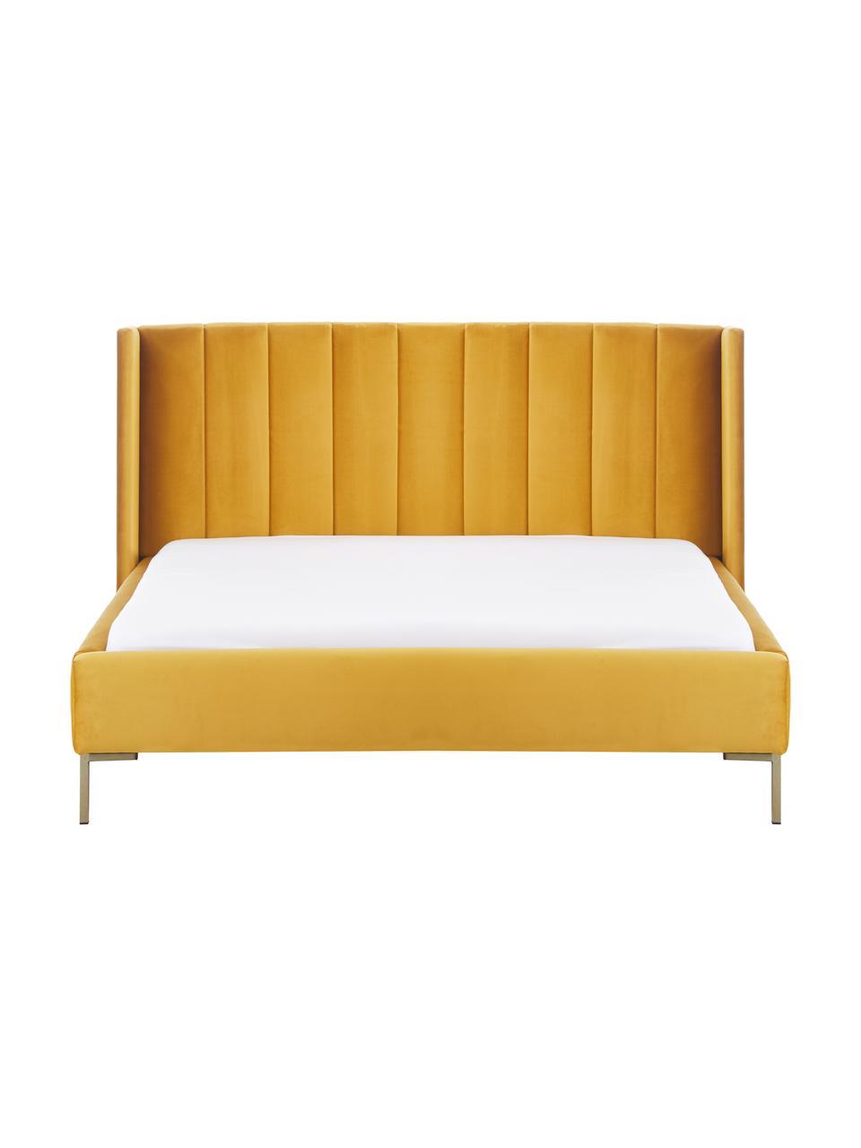 Letto matrimoniale imbottito in velluto giallo Dusk, Rivestimento: velluto di poliestere, 32, Piedini: metallo verniciato a polv, Velluto giallo, 200 x 200 cm