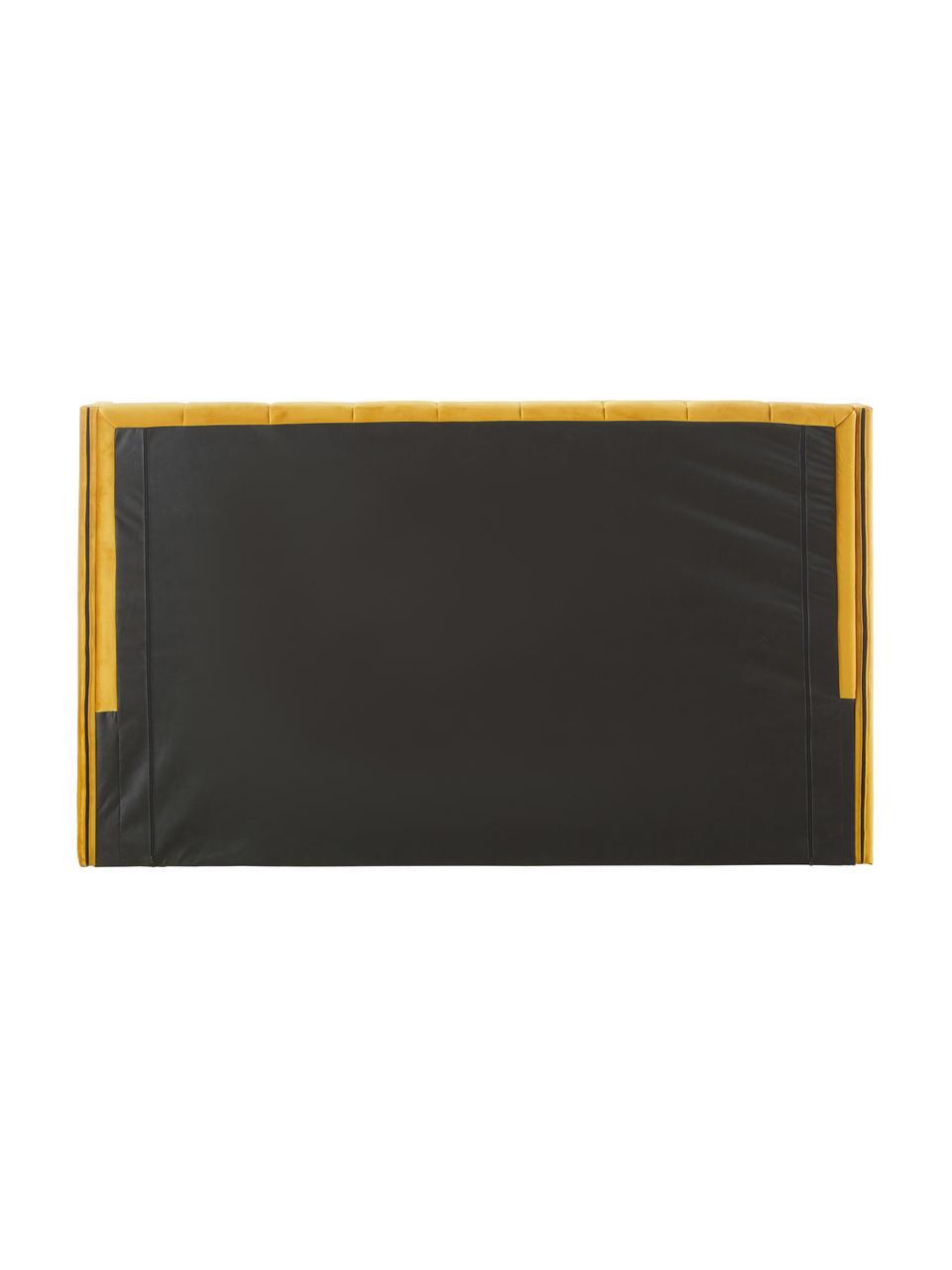 Gestoffeerd fluwelen bed Dusk in geel, Frame: massief grenenhout en pla, Bekleding: polyester fluweel, 320 g/, Poten: gepoedercoat metaal, Fluweel geel, 200 x 200 cm