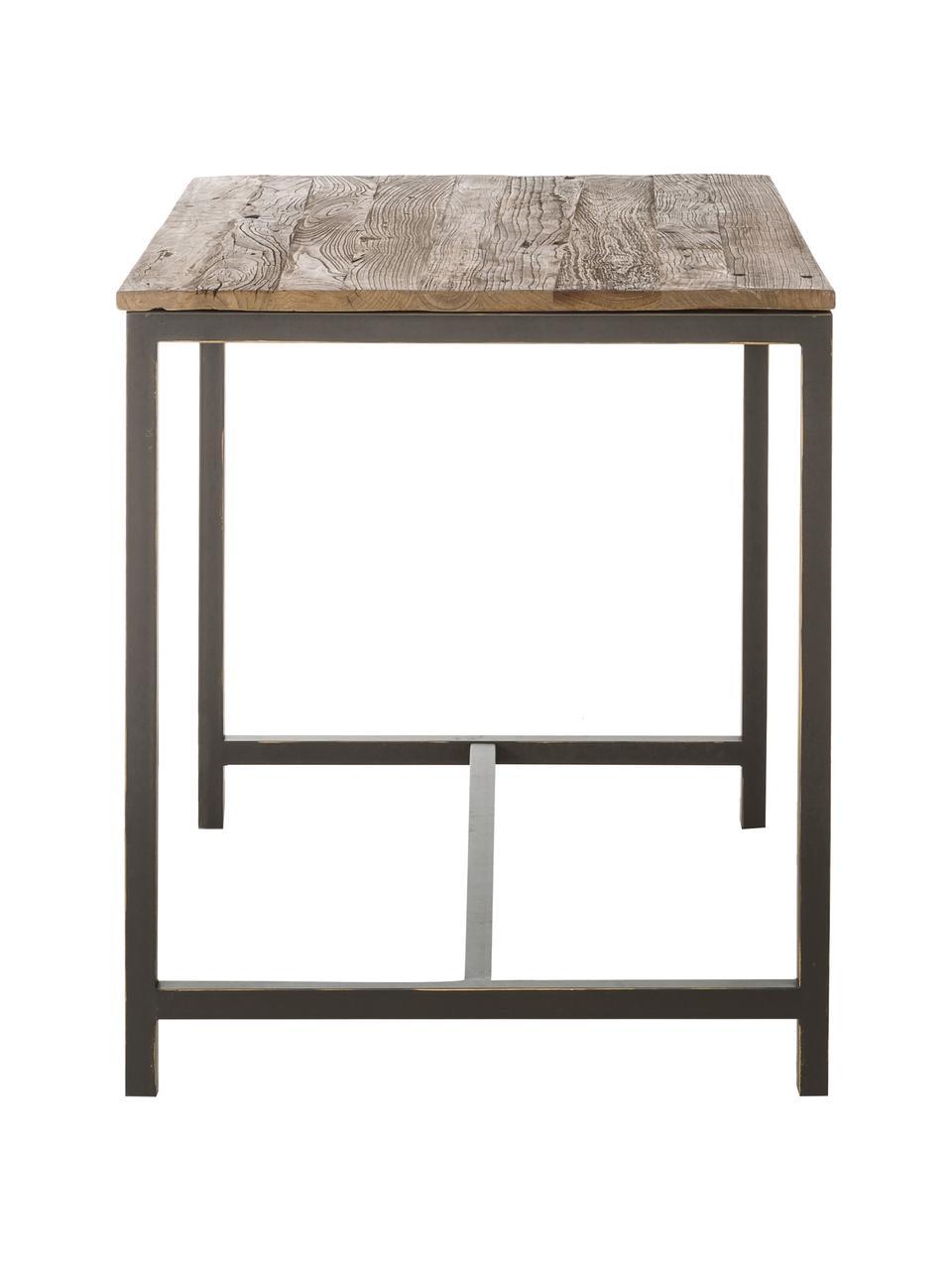 Stehtisch Vintage mit Massivholzplatte, Gestell: Stahl, pulverbeschichtet, Tischplatte: Ulmenholz, gebürstet und , Ulmenholz, 130 x 104 cm