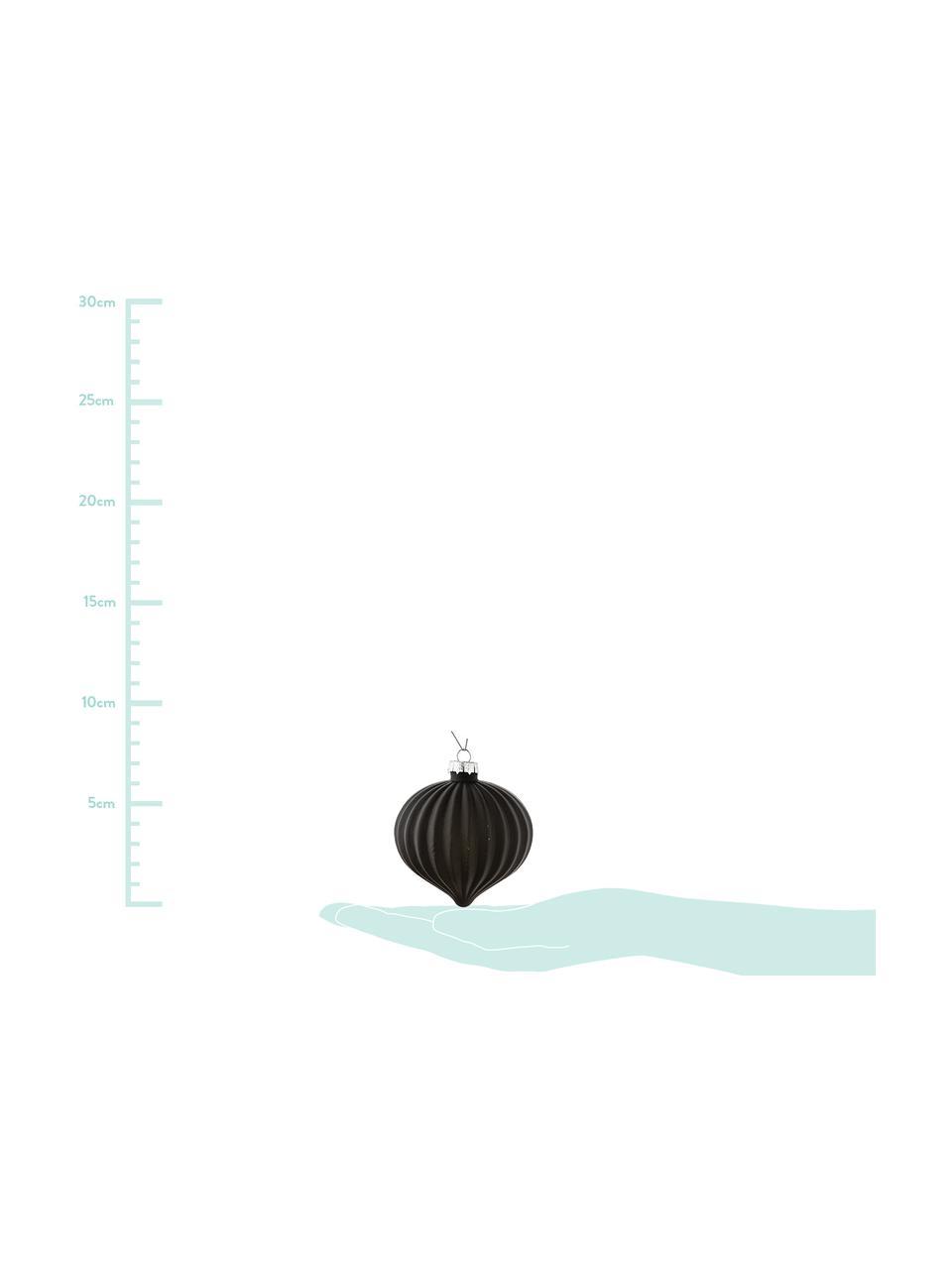 Weihnachtskugel-Set Origami, 3-tlg., Schwarz, Ø 8 x H 9 cm