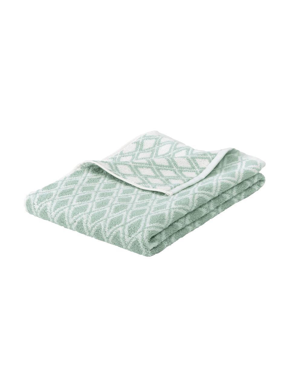 Wende-Handtuch Ava mit grafischem Muster, 100% Baumwolle, mittelschwere Qualität 550 g/m², Mintgrün, Cremeweiß, Gästehandtuch