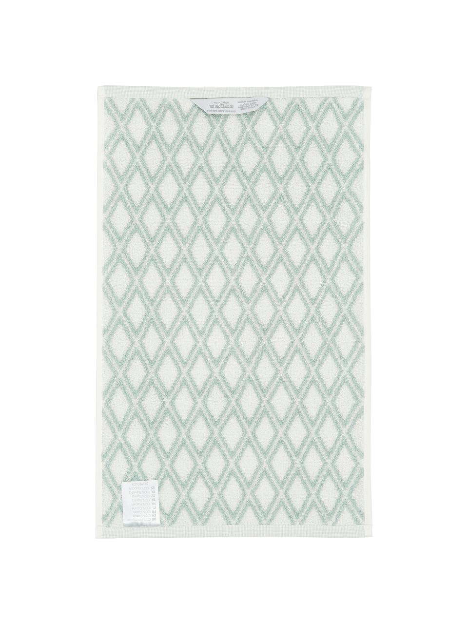 Serviette de toilette réversible en coton pur Ava, Vert menthe, blanc crème