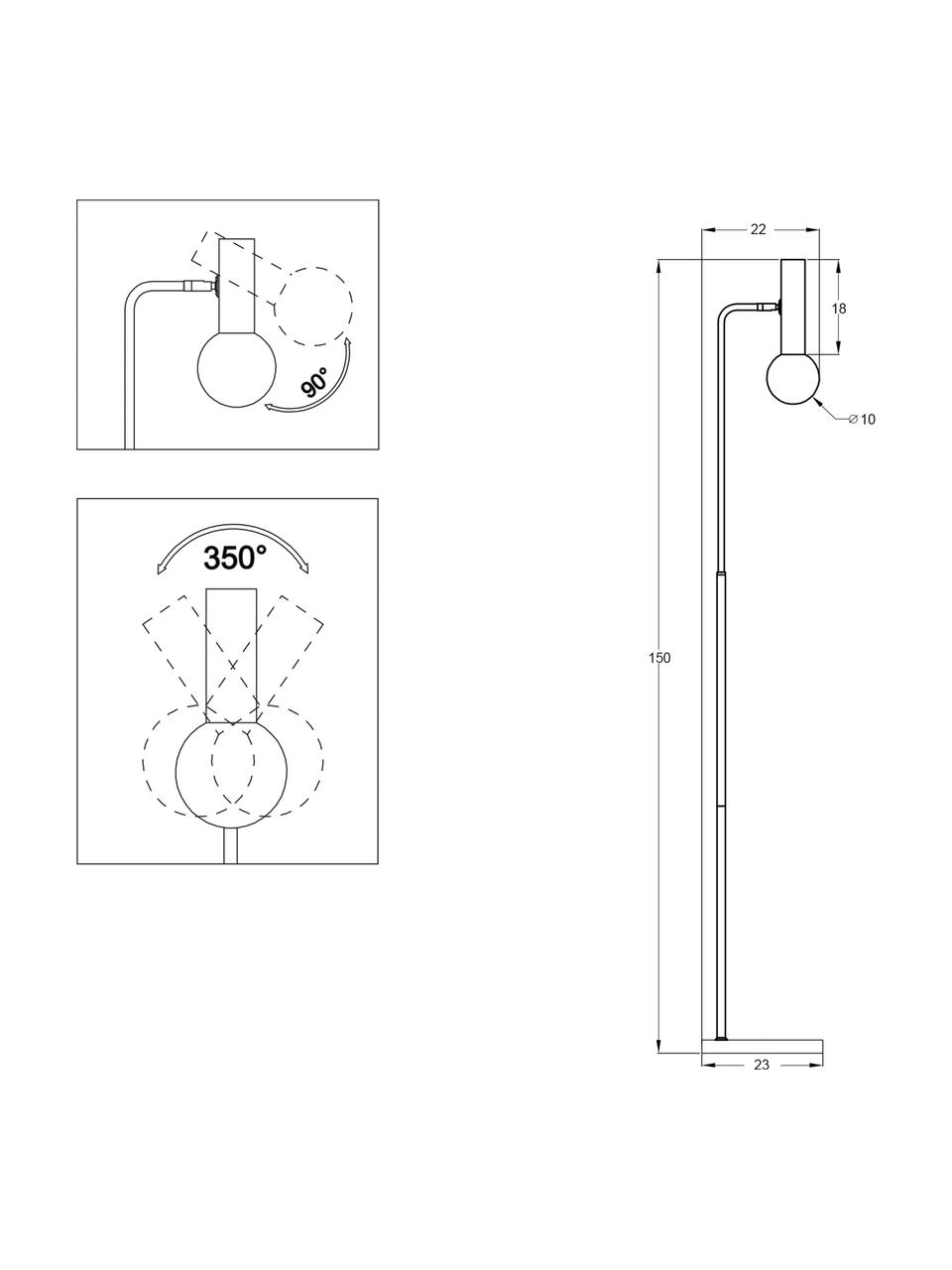 Leeslamp Wilson met glazen lampenkap, Lampvoet: gepoedercoat metaal, Fitting: vermessingd metaal, Lampenkap: glas, Zwart, Ø 23 x H 153 cm