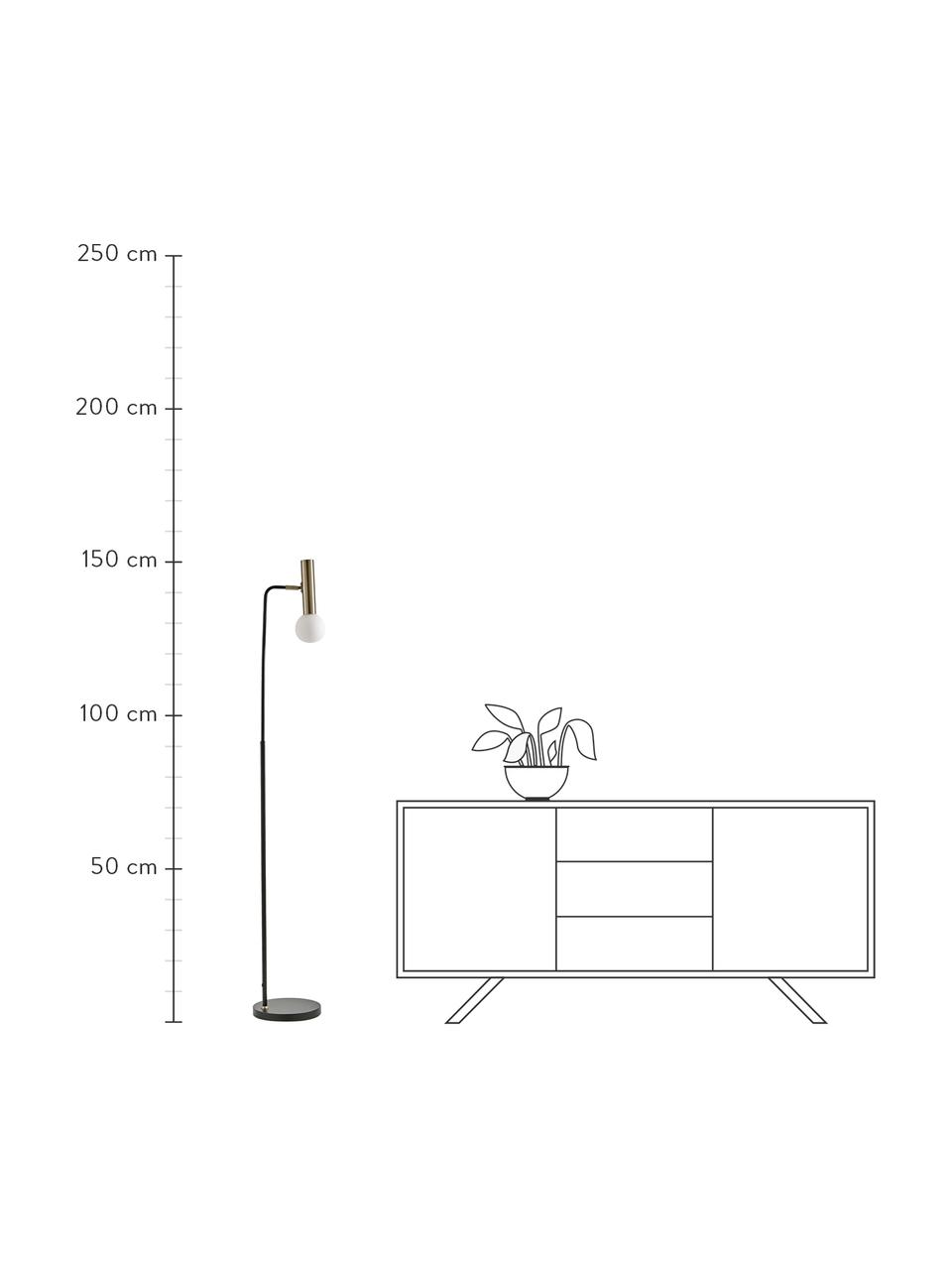 Leselampe Wilson mit Glasschirm, Lampenfuß: Metall, pulverbeschichtet, Lampenschirm: Glas, Schwarz, 28 x 151 cm
