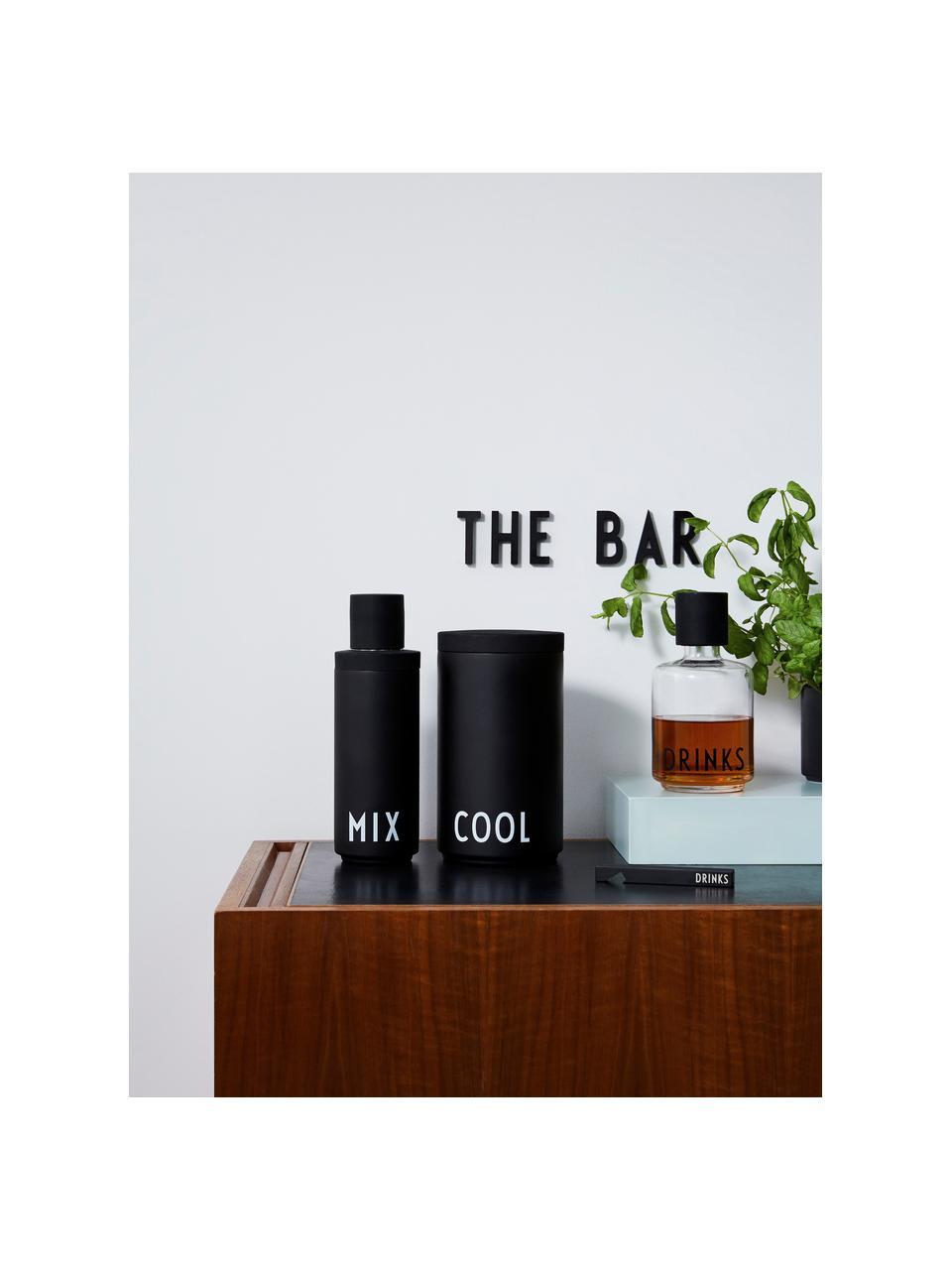 Design Cocktail-Shaker Mix in Schwarz mit Schriftzug, Flasche: Edelstahl, Verschluss: Edelstahl mit Silikondich, Aussen: Schwarz matt, Weiss Innen: Edelstahl, Ø 7 x H 23 cm