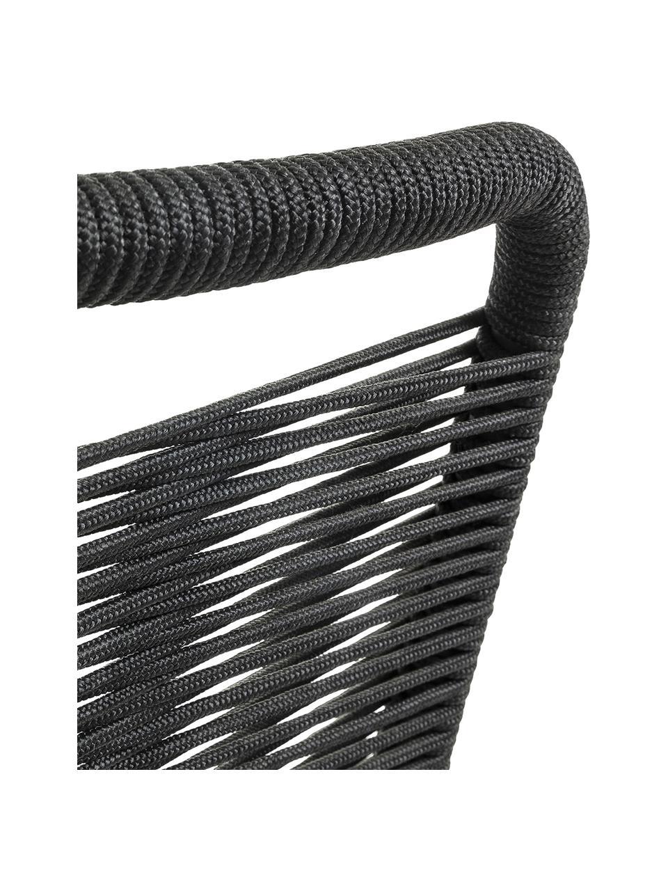 Tuinstoelen Lambton met kunststoffen vlechtwerk, 2 stuks, Zitvlak: polyethyleen vlechtwerk, Frame: gepoedercoat metaal, Zwart, B 49 x D 59 cm