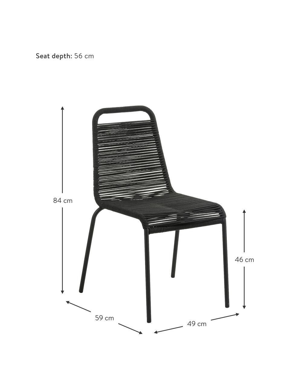 Gartenstühle Lambton mit Kunststoff-Geflecht, 2 Stück, Sitzfläche: Polyethylen-Geflecht, Gestell: Metall, pulverbeschichtet, Schwarz, B 49 x T 59 cm