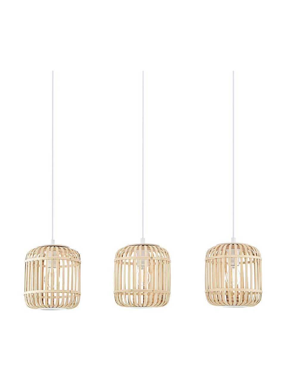 Lampa wisząca z drewna bambusowego Adam, Biały, beżowy, S 78 cm x W 24 cm