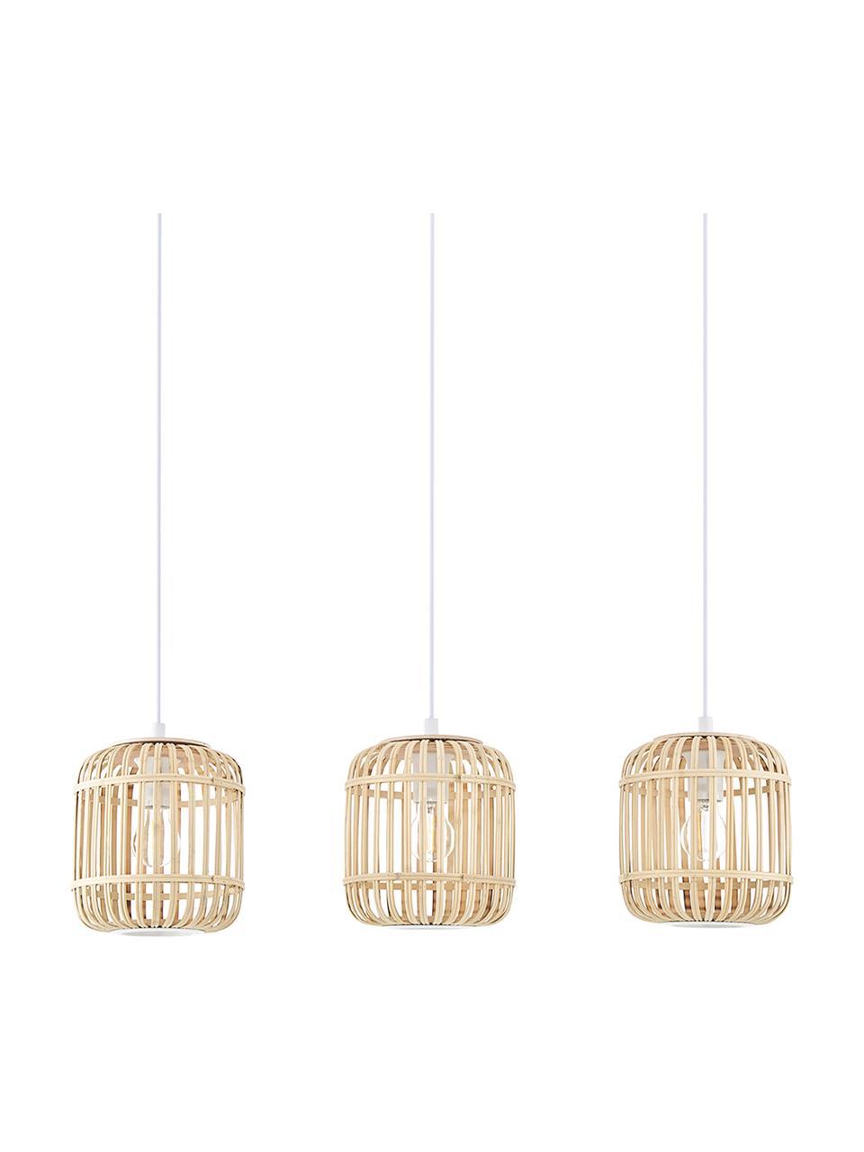 Lampada a sospensione in bambù Adam, Paralume: bambù legno, Baldacchino: metallo verniciato a polv, Bianco, beige, Larg. 78 x Alt. 24 cm