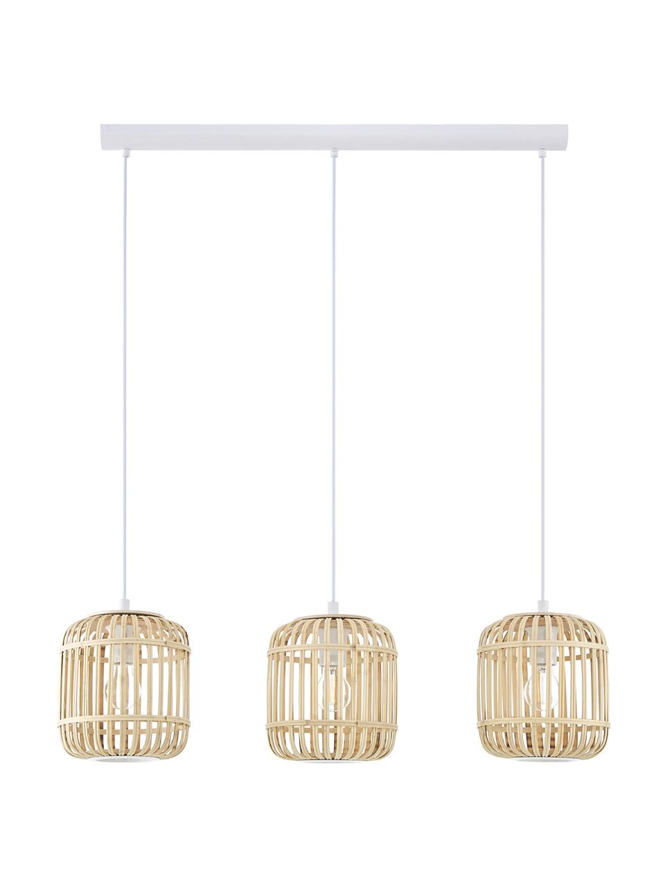 Pendelleuchte Adam aus Bambus, Lampenschirm: Bambus, Holz, Baldachin: Metall, pulverbeschichtet, Weiß, Beige, 78 x 24 cm