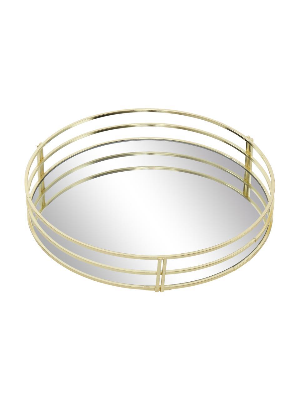 Deko-Tablett-Set Sino, 2-tlg., Rahmen: Metall, beschichtet, Ablagefläche: Spiegelglas, Messingfarben, Set mit verschiedenen Größen