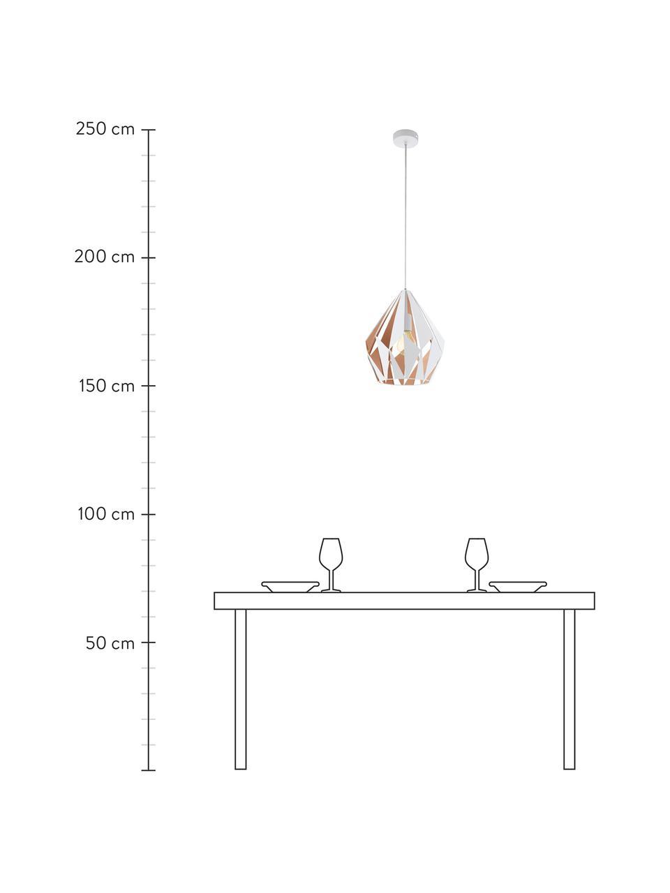 Suspension scandinave Carlton, Extérieur: blanc Intérieur: rose doré