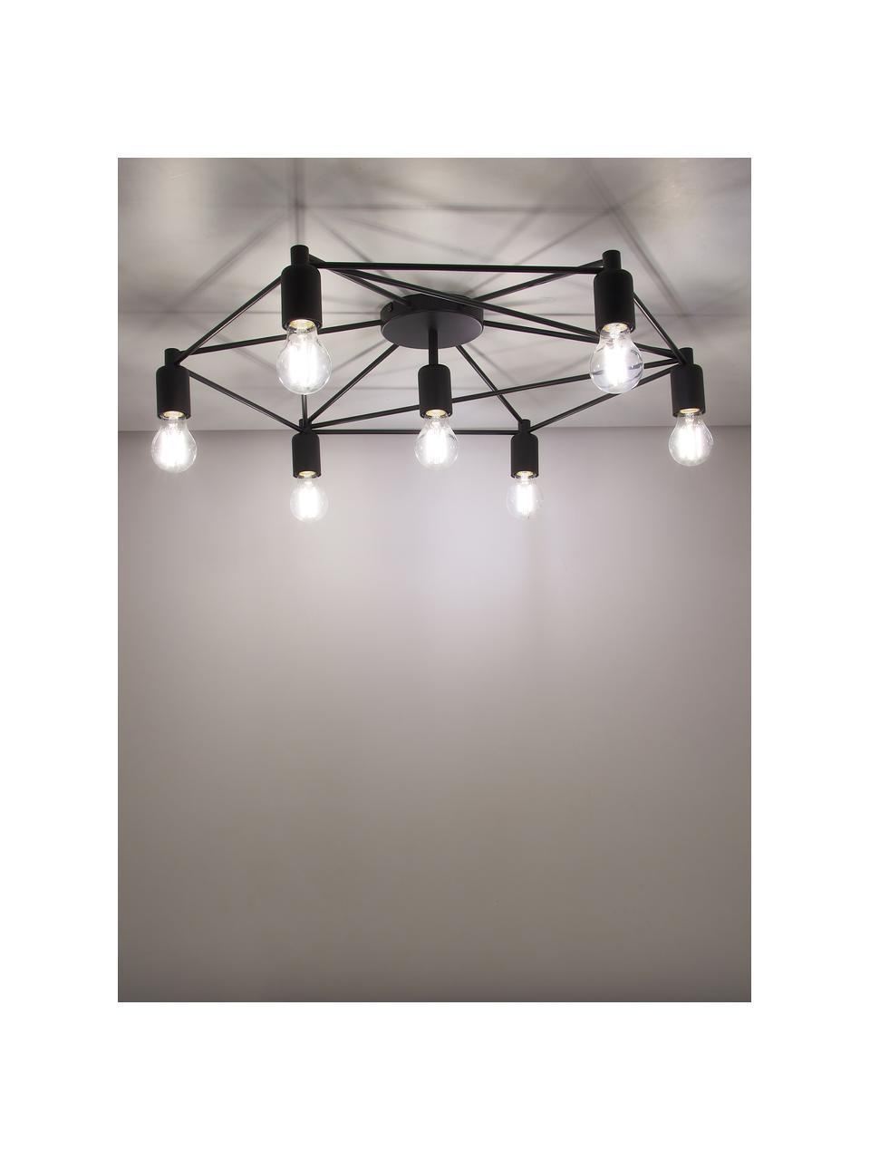 Große Deckenleuchte Staiti in Schwarz, Baldachin: Stahl, lackiert, Schwarz, Ø 76 x H 14 cm