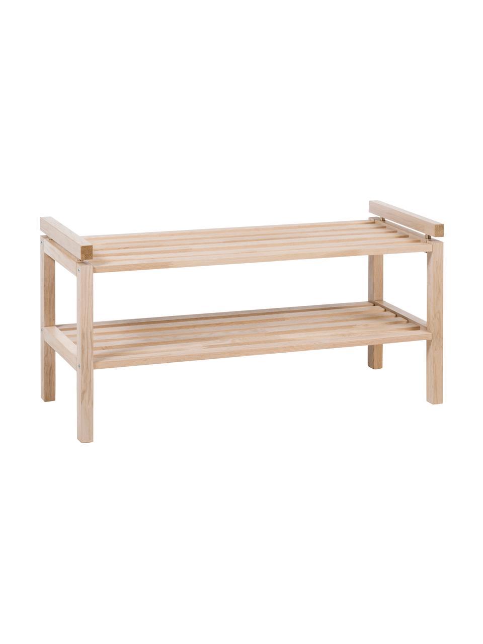 Półka na buty z drewna Confetti, Drewno dębowe, lite, lakierowane, Drewno dębowe, bielone, S 80 x W 40 cm