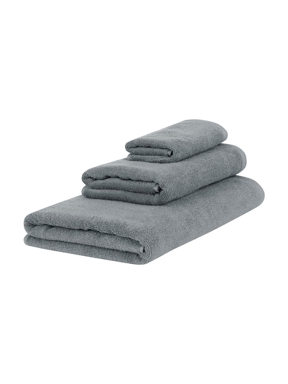 Set 3 asciugamani in tinta unità Comfort, Grigio scuro, Set in varie misure