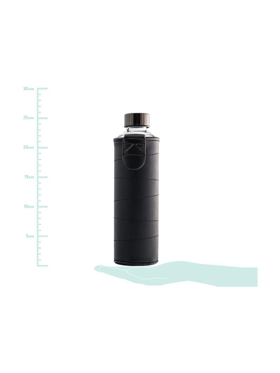 Drinkfles Mismatch, Fles: borosilicaatglas, Deksel: edelstaal, tritan (kunsts, Zwart, transparant, Ø 8 x H 26 cm