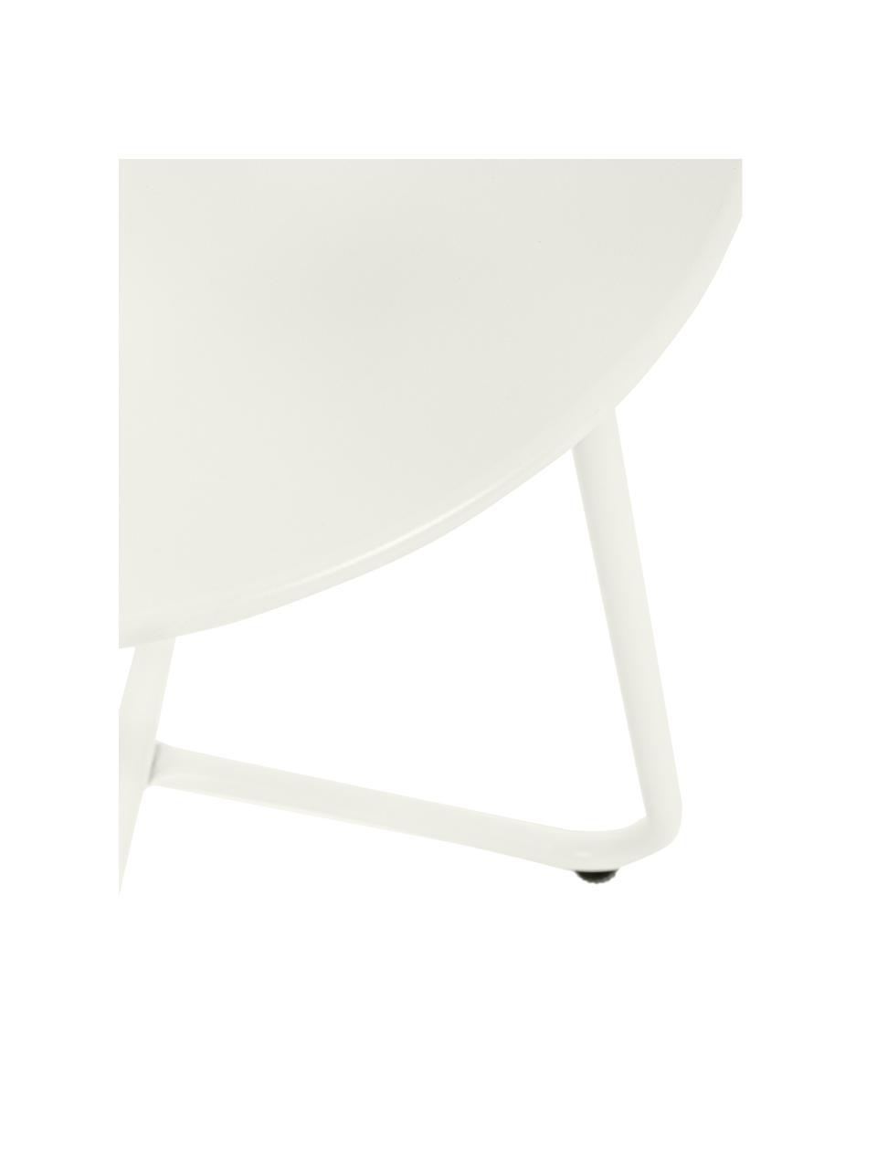 Metall-Gartenbeistelltisch Wissant in Weiß, Stahl, pulverbeschichtet, Weiß, Ø 40 x H 45 cm