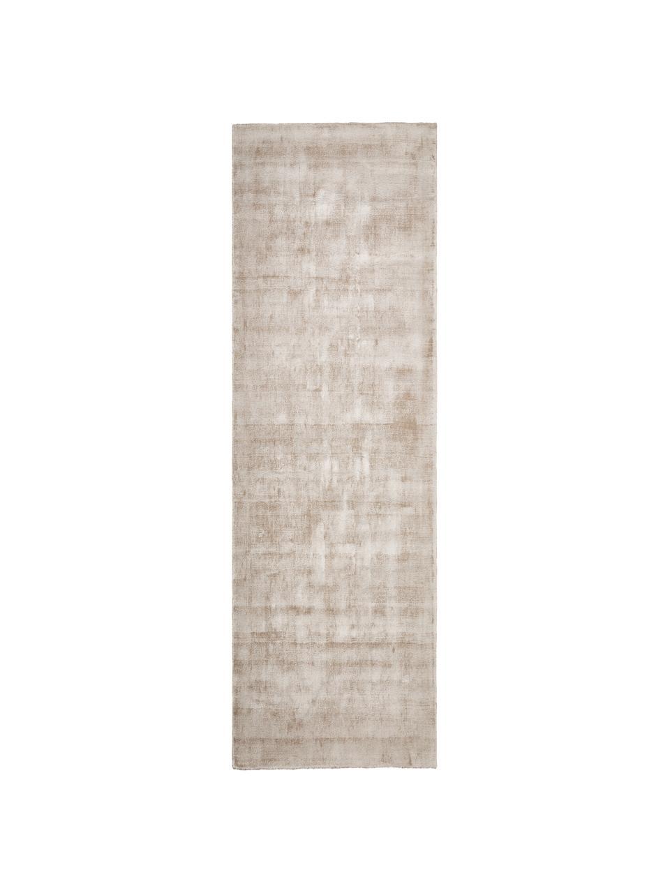 Handgewebter Viskoseläufer Jane in Beige, Flor: 100% Viskose, Beige, 80 x 250 cm