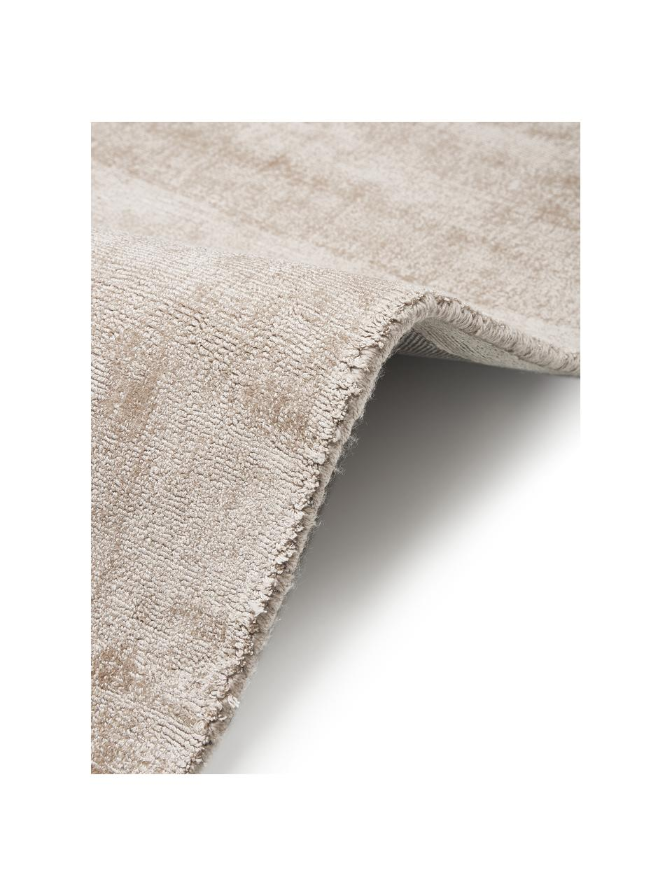 Passatoia in viscosa beige tessuta a mano Jane, Retro: 100% cotone, Beige, Larg. 80 x Lung. 250 cm