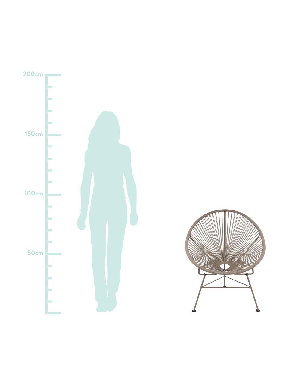 Sedia a poltrona intrecciata Bahia, Seduta: materiale sintetico, Struttura: metallo verniciato a polv, Taupe, Larg. 81 x Prof. 73 cm