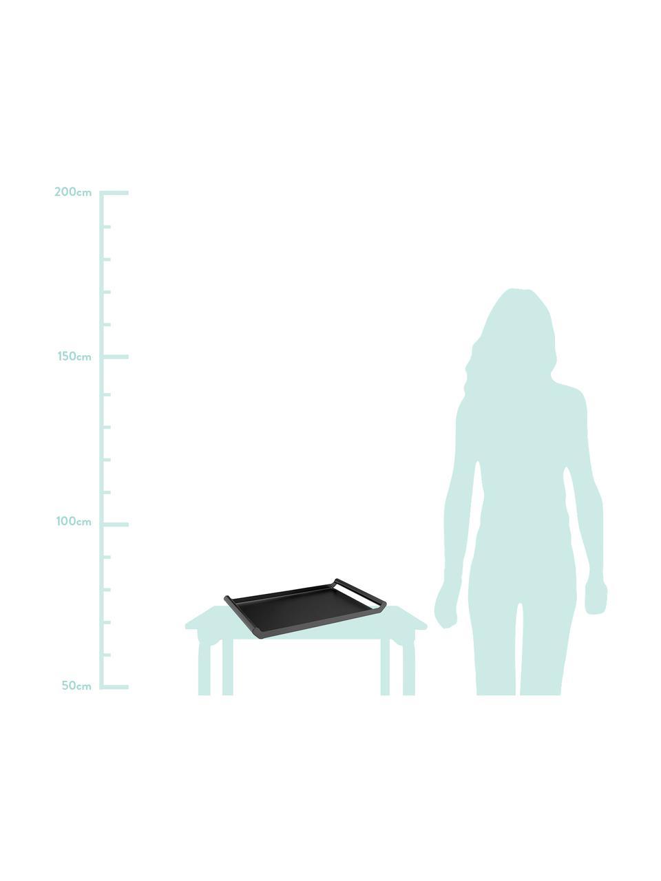 Massives Serviertablett Charlie in Schwarz, L 50 x B 30 cm, Metall, beschichtet, Schwarz, 30 x 50 cm