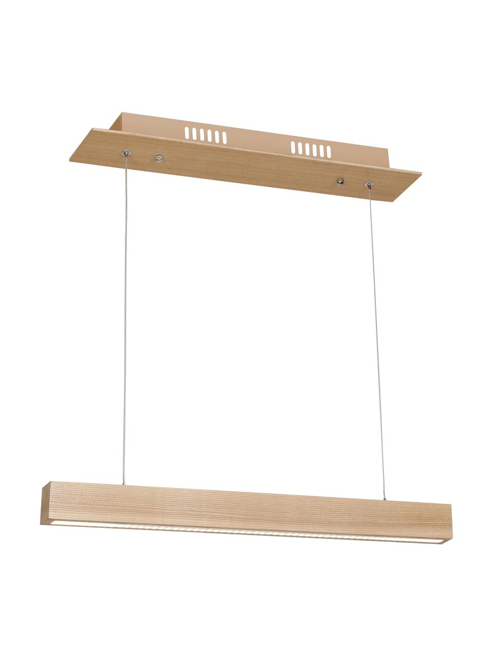 Grote LED hanglamp Timber van hout, Lampenkap: hout, Baldakijn: hout, Hout, B 94 x D 9 cm
