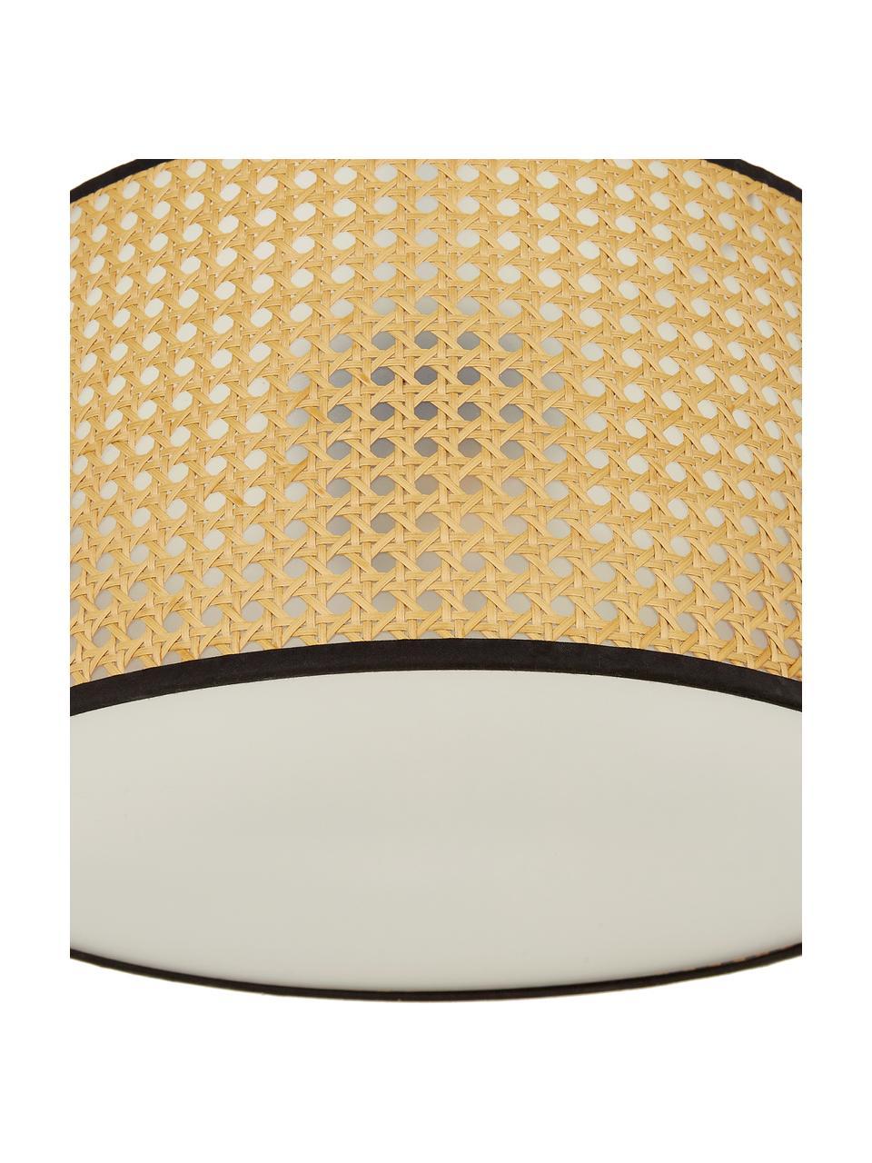 Plafonnier cannage design Vienna, Abat-jour: beige, noir Rosace: noir mat