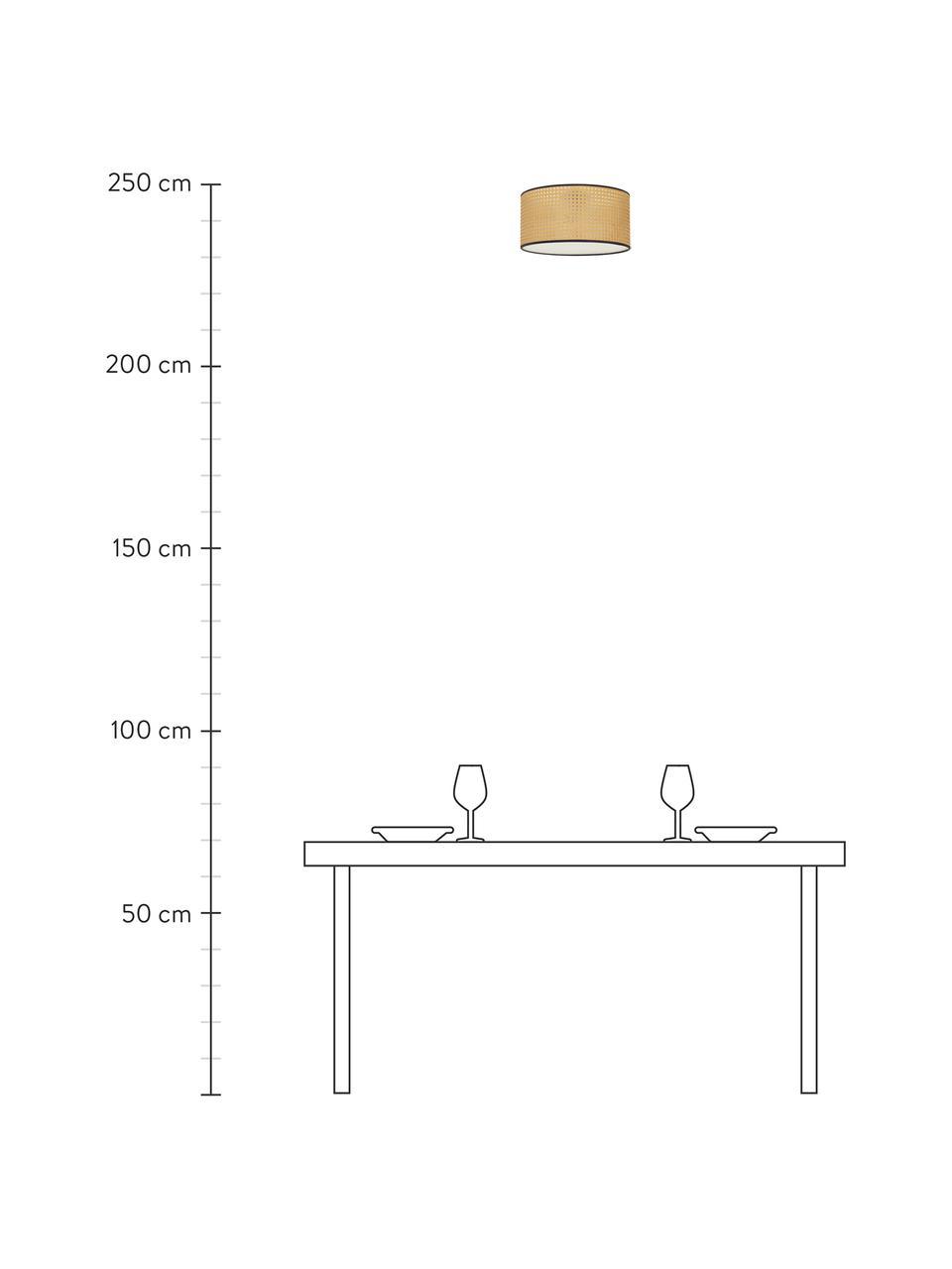Plafondlamp Vienna van Weens vlechtwerk, Lampenkap: kunststof, Baldakijn: gepoedercoat metaal, Diffuser: acryl, Lampenkap: beige, zwart. Baldakijn: mat zwart, Ø 40 x H 20 cm