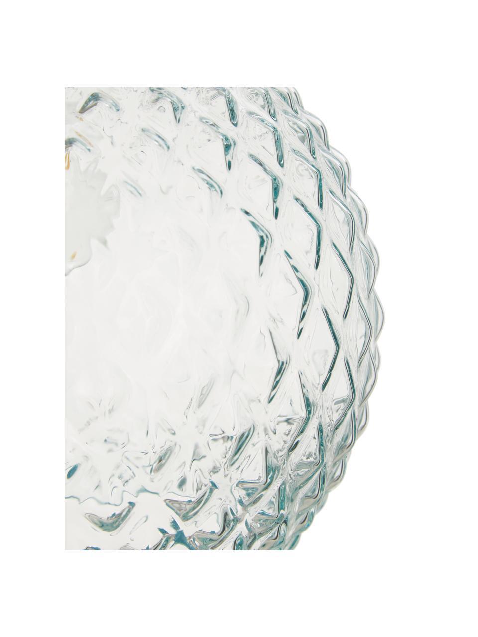 Kleine Pendelleuchte Rania aus hellblauem Glas, Lampenschirm: Glas, Baldachin: Metall, pulverbeschichtet, Dekor: Metall, pulverbeschichtet, Blau,Transparent, Ø 25 x H 21 cm