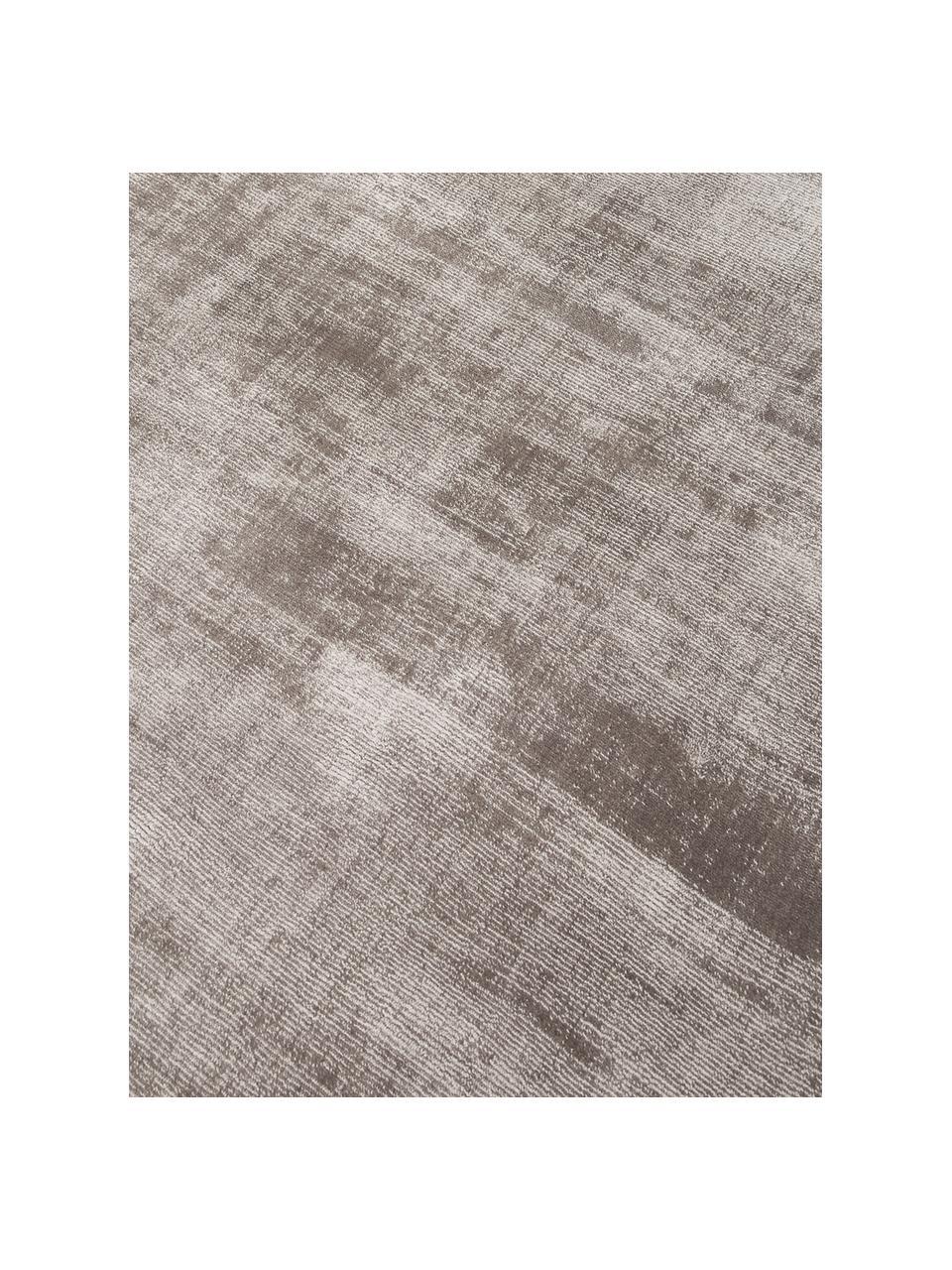 Tappeto rotondo in viscosa color taupe tessuto a mano Jane, Retro: 100% cotone, Taupe, Ø 150 cm