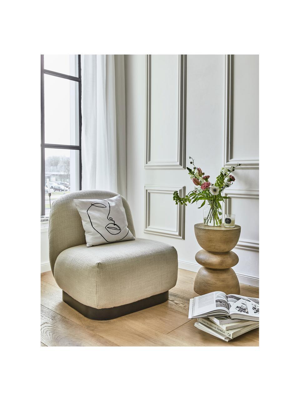 Stolik pomocniczy z drewna mangowego Benno, Lite drewno mangowe, lakierowane, Jasny brązowy, Ø 35 x W 50 cm