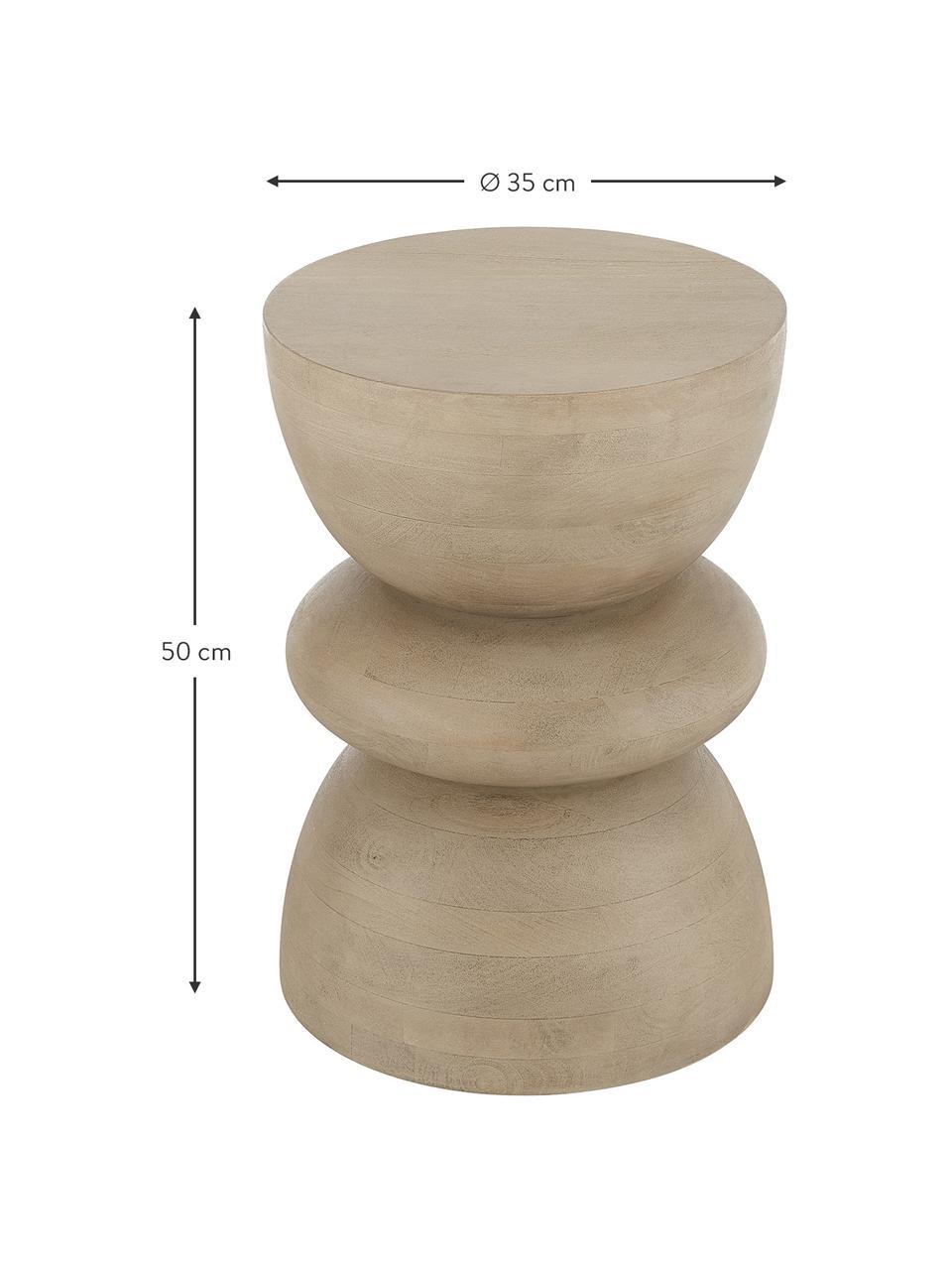 Beistelltisch Benno aus Mangoholz in Hellbraun, Massives Mangoholz, lackiert, Hellbraun, ∅ 35 x H 50 cm