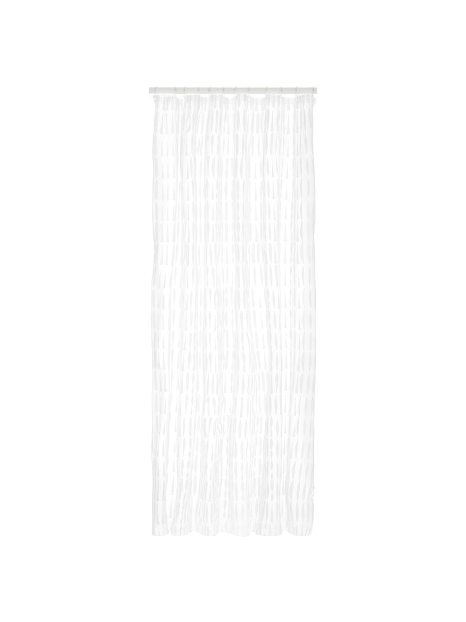 Rideau de douche transparent/blanc Zora, Transparent, blanc