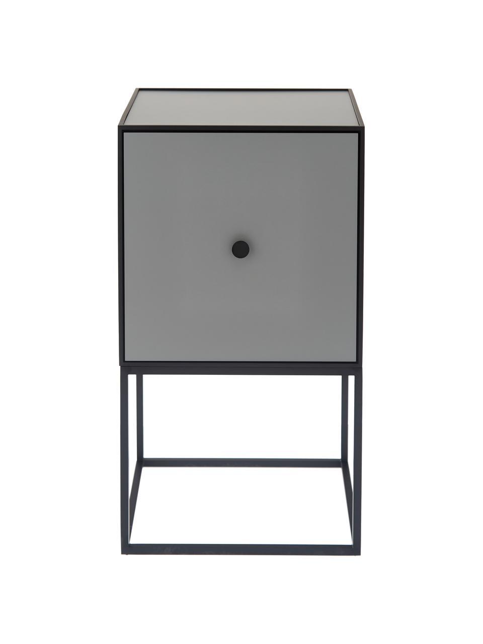 Grijs design nachtkastje Frame, Frame en omlijsting: zwart. Kast: donkergrijs, 35 x 63 cm
