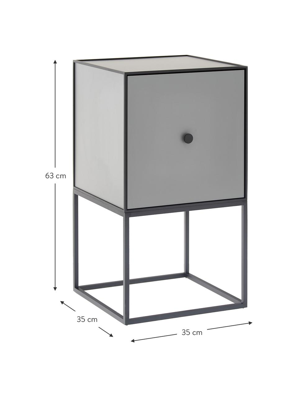 Grauer Design Nachttisch Frame, Korpus: Mitteldichte Holzfaserpla, Gestell und Rahmen: Schwarz Korpus: Dunkelgrau, 35 x 63 cm