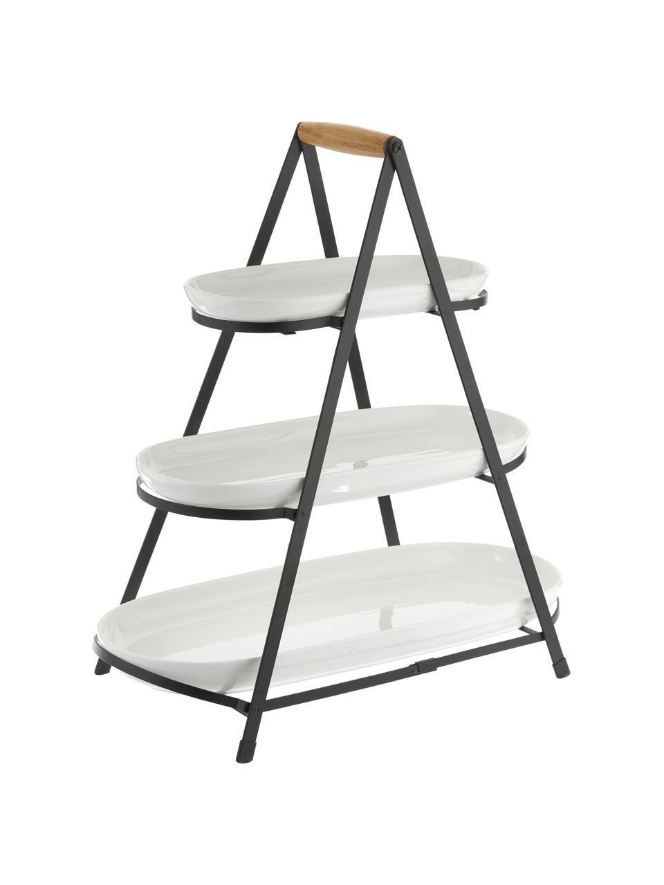 Présentoir à gâteaux porcelaine avec plateaux amovibles Tower, Blanc, noir, bois
