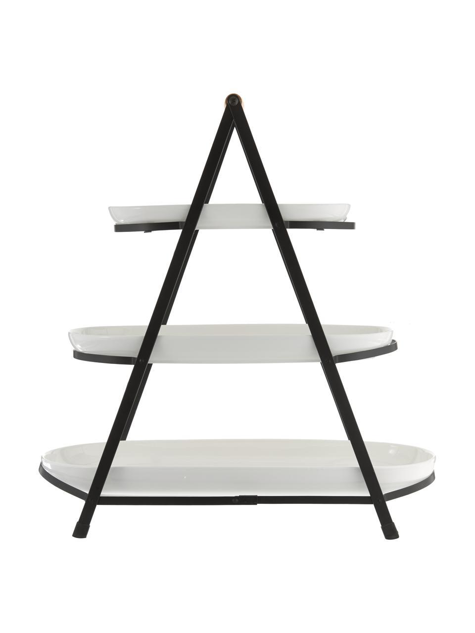 Etażerka  ze zdejmowanymi półmiskami z porcelany Tower, Stelaż: metal, Biały, czarny, drewno naturalne, S 50 x W 55 cm